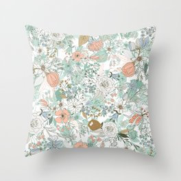 Abstract mint coral white pastel rustic floral  Throw Pillow