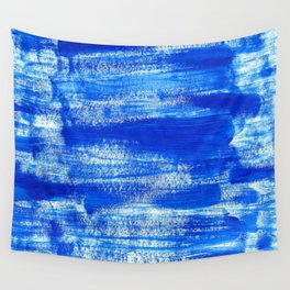 Cool & Calming Cobalt Blue Paint on White  Wall Tapestry