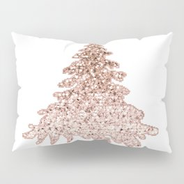 Sparkling christmas tree rose gold ombre Pillow Sham