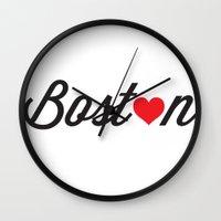 boston Wall Clocks featuring Boston by Julia Paige Designs