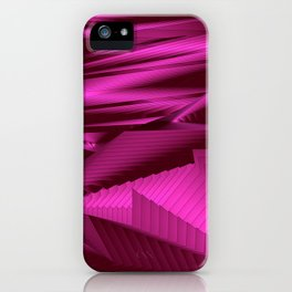 Diffuse landscap with stylised mountains, sea and pink Sun. iPhone Case