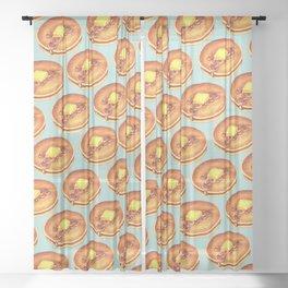 Pancakes Pattern - Blue Sheer Curtain