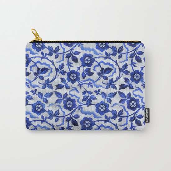Azulejos blue floral pattern Carry-All Pouch