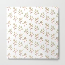 Modern coral green hand painted watercolor floral pattern Metal Print