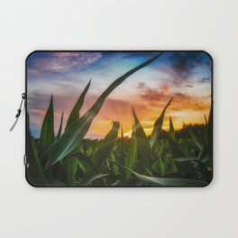 A view through the corn field at sunset Laptop Sleeve
