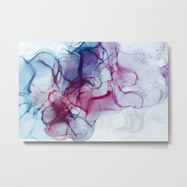Alcohol Ink Abstract Wash Background. Mixing Blue Aqua Acrylic Paints Metal Print