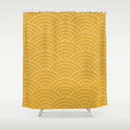 Waves (Mustard Yellow) Shower Curtain
