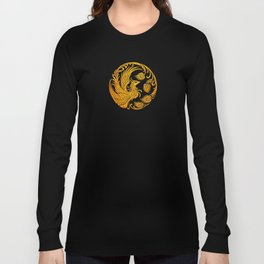 Traditional Yellow and Red Chinese Phoenix Circle Long Sleeve T-shirt
