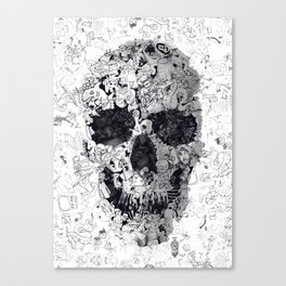 Doodle Skull BW Canvas Print