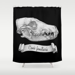 Dog Skull in Ink Shower Curtain