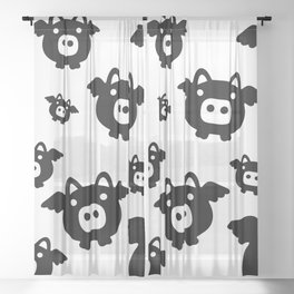 Pigs Will Fly (b&w) Sheer Curtain