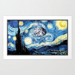 Falcon flies the Starry Night Art Print