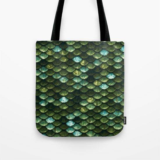 Aqua and green sparkling mermaid glitter scales- Mermaidscales Tote Bag