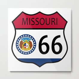 Route 66 Missouri Sign and Flag Metal Print
