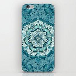 Winter blue floral mandala iPhone Skin
