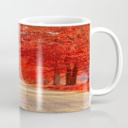 Red Forest Autumn Path Coffee Mug