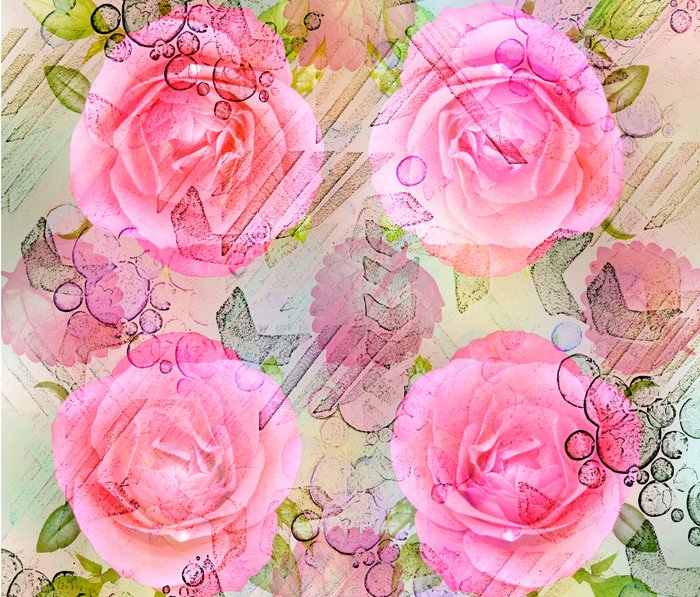 Pink roses on a painterly background Metal Travel Mug