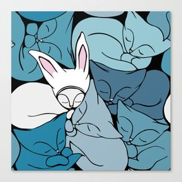 Teal Curled Up Bunny Cats Canvas Print