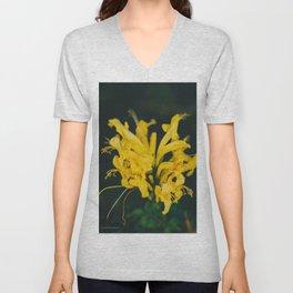 Beautiful yellow flower on black background - Botanical Photography #Society6 Unisex V-Neck
