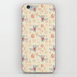 Fox in love beige Hearts iPhone Skin