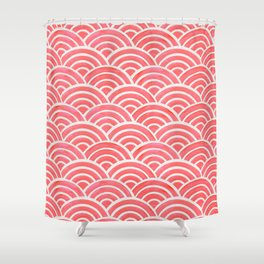 Japanese Seigaiha Wave Pattern – Coral Shower Curtain
