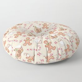 Gingerbread & Peppermint Repeat Pattern -Holiday Pattern Floor Pillow