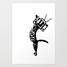 Television kitty Art Print