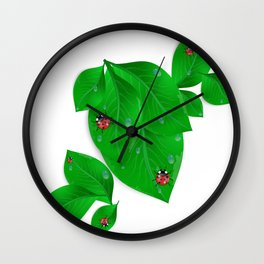 Green leaves with ladybirds and waterdrops Wall Clock