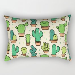 Cute Happy Cactus Cacti Pattern Rectangular Pillow