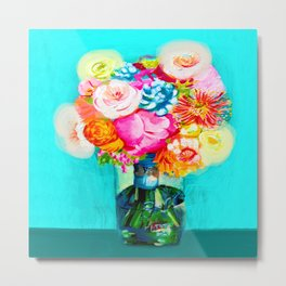 Bight Turquoise and Hot Pink Mason Jar Bouquet Painting Metal Print