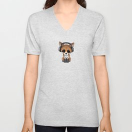 Cute Red Fox Cub Dj Wearing Headphones on Blue Unisex V-Neck