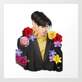 ONEUS Ravn with flowers Art Print