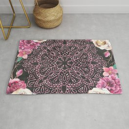 Mandala Night Rose Gold Garden Pink Black Yellow Rug