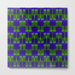Squares and Lines in Blue and Green Metal Print