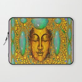 TURQUOISE ART DECO & FIRE OPALS GOLD BUDDHA ABSTRACT Laptop Sleeve