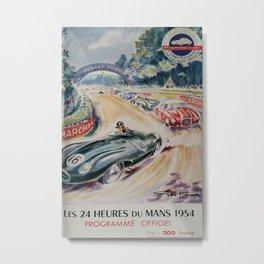 1954 Le Mans poster, Race poster, car poster, programme officiel Metal Print