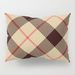 Tan Tartan with Diagonal Black and Red Stripes Pillow Sham