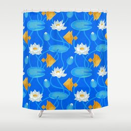 Tangram goldfish and water lilies in blue Shower Curtain