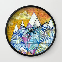 Maps and Mountains Wall Clock