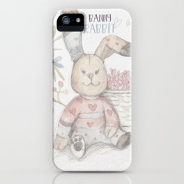 Banny rabbit watercolor illustration iPhone Case