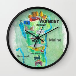 USA Vermont State Travel Poster Map with Touristic Highlights Wall Clock