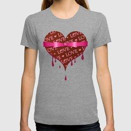So sweet LOVE - chocolate, heart shape, valentine, ribbon, gift, pink T-shirt