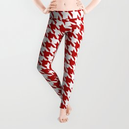 Red Classic houndstooth pattern Leggings