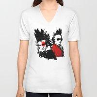 mozart V-neck T-shirts featuring Beethoven Mozart Punk Composers by viva la revolucion
