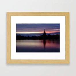Pink Sky Over The Lichfield Cathedral Framed Art Print
