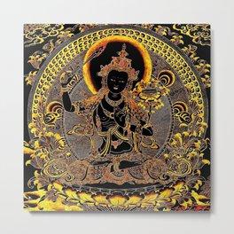 Manjushree Black Gold Thangka Metal Print