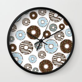 Pattern Of Donuts, Sprinkles, Icing - Blue Brown Wall Clock