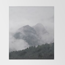Minimalist Modern Photography Landscape Pine Forest Jagged High Grey Mountains Throw Blanket