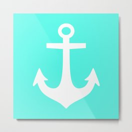 Anchor (White & Turquoise) Metal Print