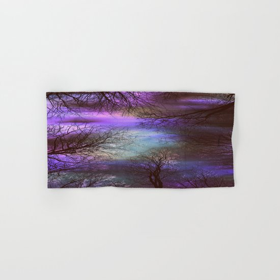 midnight trees purple green teal Hand & Bath Towel